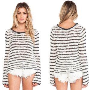 •Free People• Fuzzy Stripe Sweater